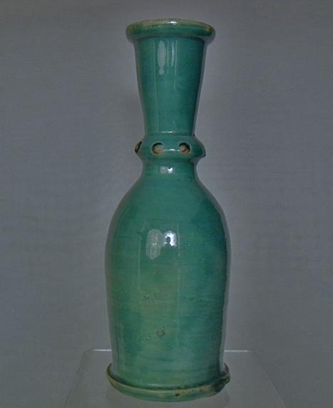 Antique 18th c Islamic Persian Safavid Turquoise Glazed Ceramic Hookah