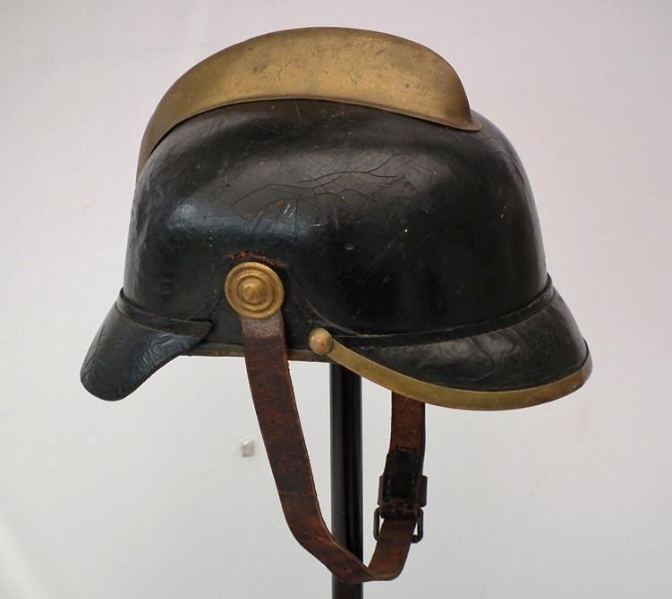 Antique Imperial German Fireman's Firefighters Leather Helmet