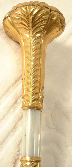 Antique Umbrella Gold Mother of Pearl Handle, 19th century