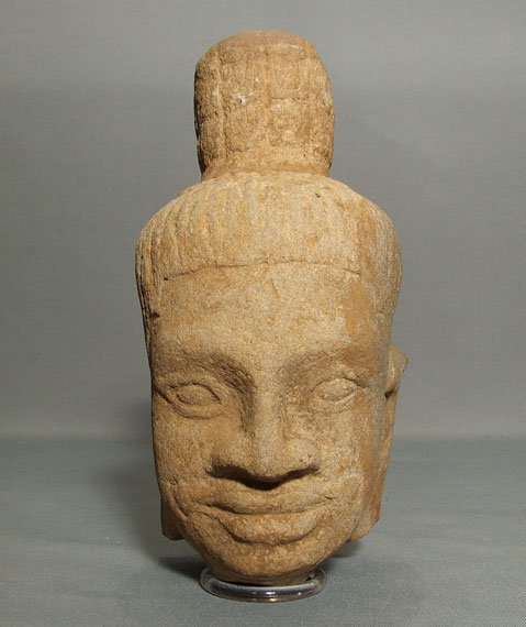 Antique Khmer Head of Divinity, Antique Sandstone Figure