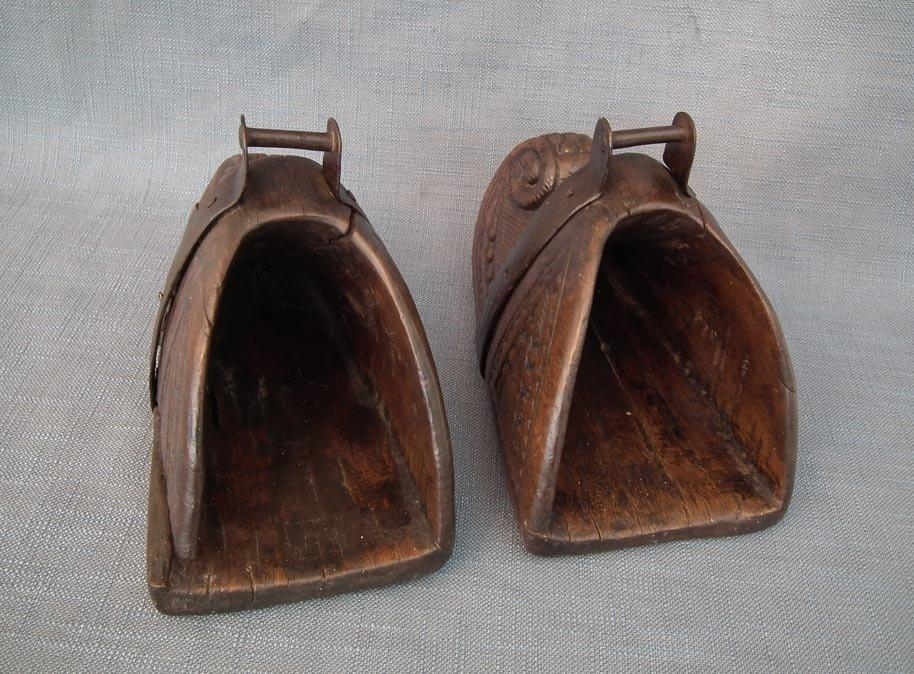 Antique 17th-18th Century Spanish Colonial Large Wood Saddle Stirrups