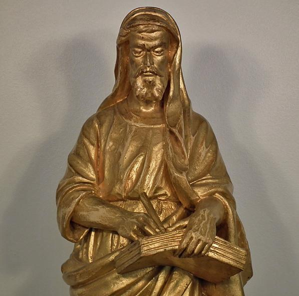 Antique 19TH Century Gilt Wood Sculpture Figure OF ST Luke Evangelist
