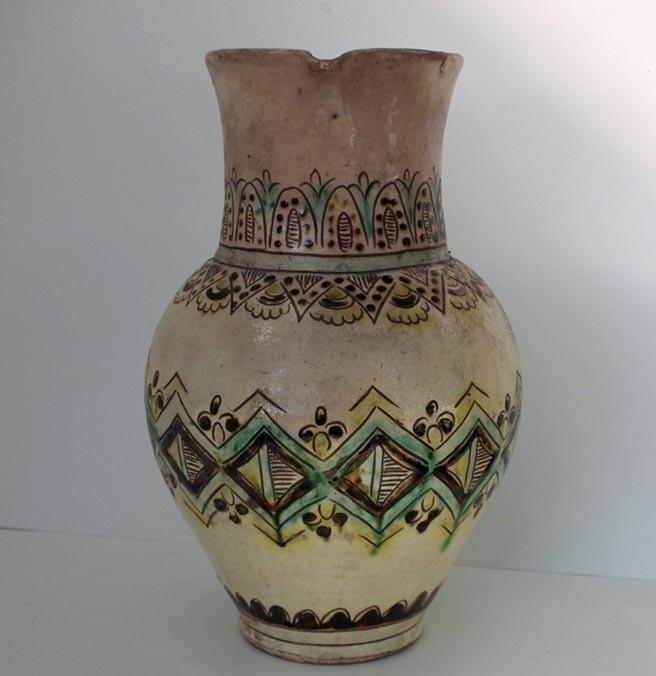 Antique Ukrainian Hutsul Ceramic Pitcher 19th Century Ukraine