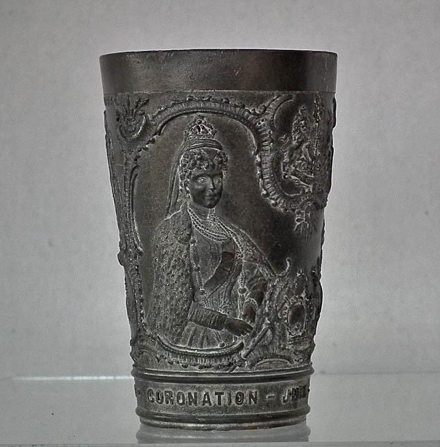 Antique Souvenir English Pewter Beaker Commemorating Coronation of Edward VII