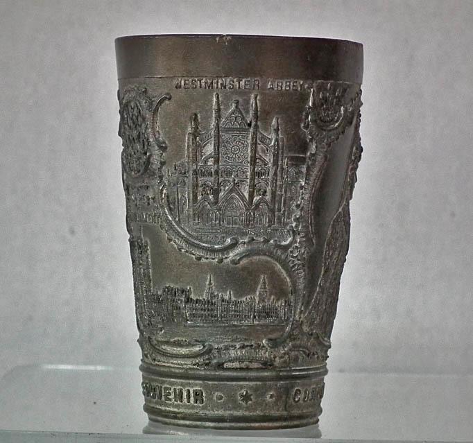 Antique Souvenir English Pewter Beaker Commemorating Coronation of Edward VII