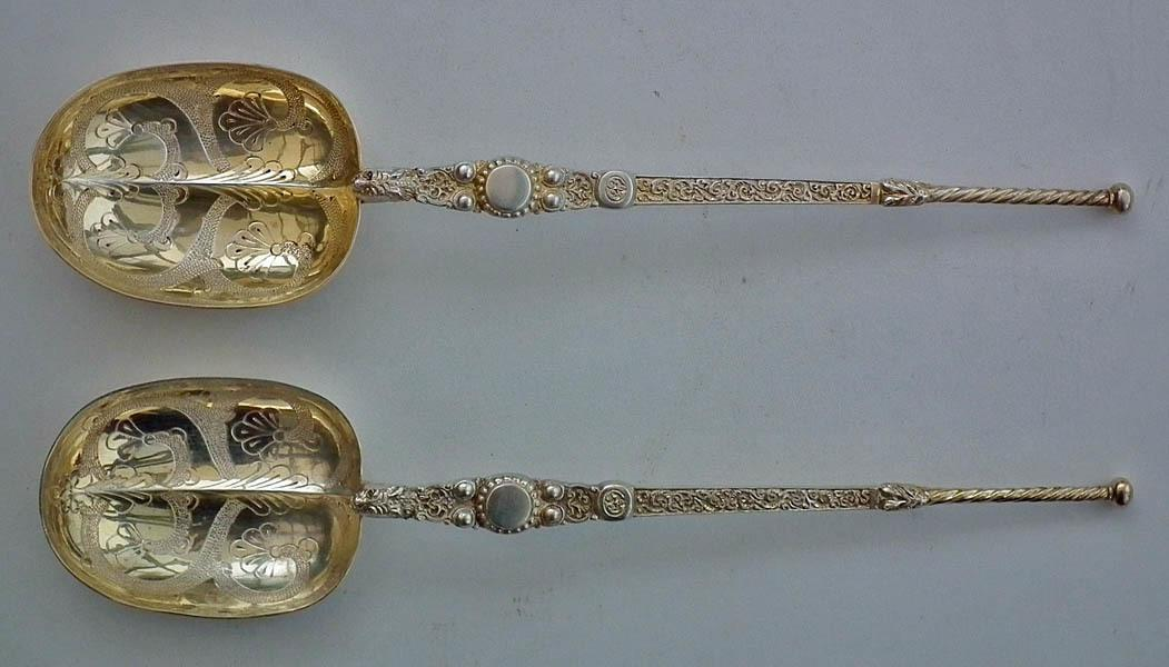 Pair of Rare Dated 1900 Silver Gilt Anointing Spoons Edward VII Coronation Regalia