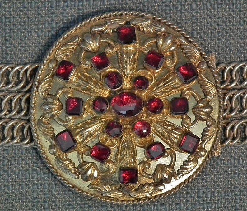 Antique 17-19th century Hungarian or Polish Aristocrat Gilt Silver Jeweled Mantle Clasp Buckle