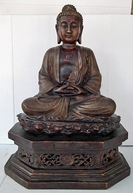 A large Chinese Bronze Figure Of Amitabha Buddha 19th - 20th century
