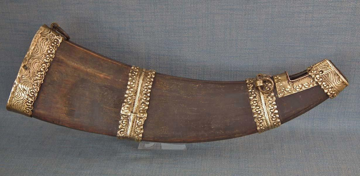 Antique Tibetan Drinking Horn Chhaang Beer 19th Century Tibet