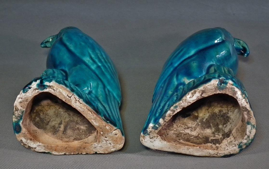 A Pair Of Antique Chinese Export Qing Dynasty Porcelain Turquoise-Glazed Parrots 18-19th century
