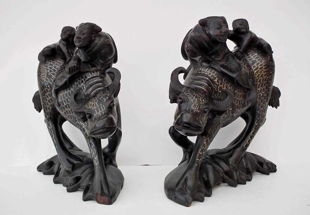 A pair Of Antique Chinese 19th century Qing Dynasty Silver Inlaid Wood Sculptures