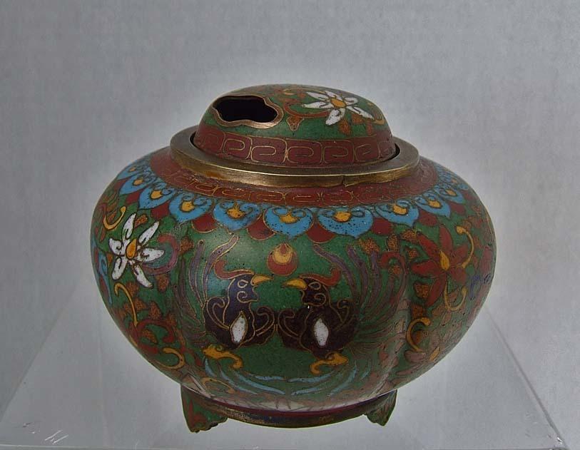 Antique Chinese Qing Dynasty (1644-1911 AD) Cloisonne Censer - Incense Burner