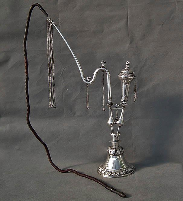 Antique 19th Century Sterling Silver Islamic Indo Persian Pipe Huqqa Nargila
