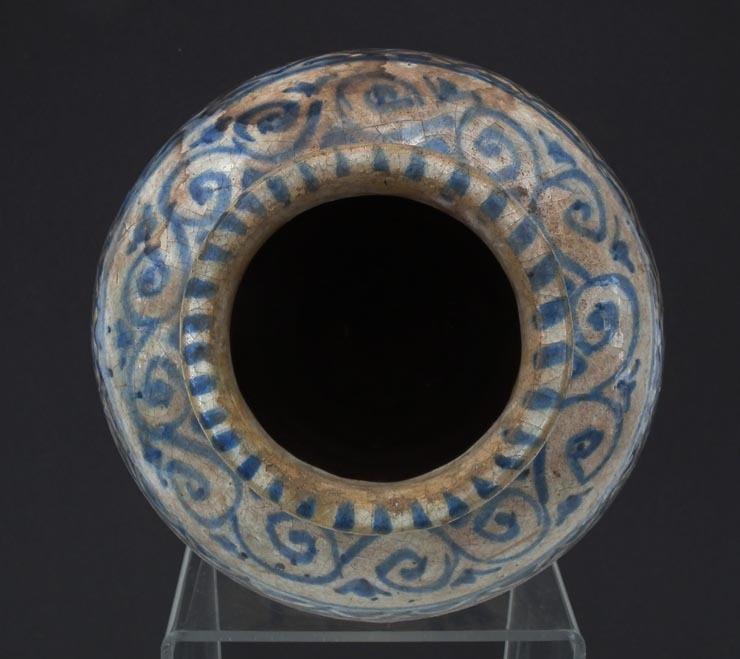Antique Medieval 15th Century Islamic Mamluk Blue And White Ceramic Jar