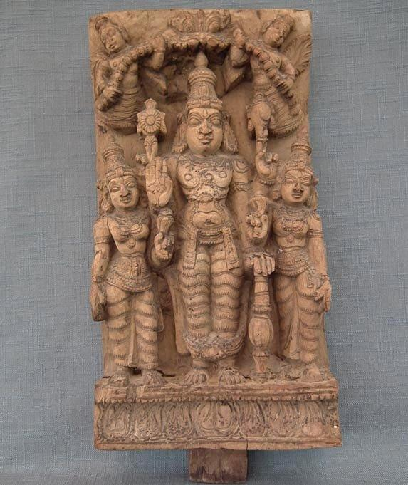 Antique Indian Hindu Wood Sculpture Vishnu Shridevi & Bhudevi 18th Century India
