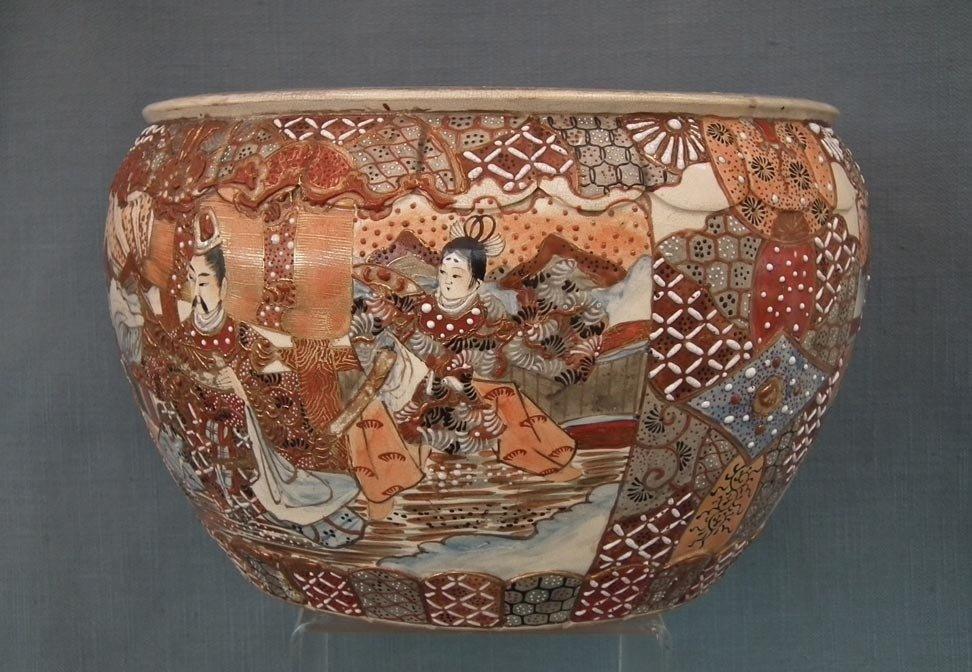 Antique 19th century Meiji Japanese Satsuma Earthenware Large Planter Fish Bowl