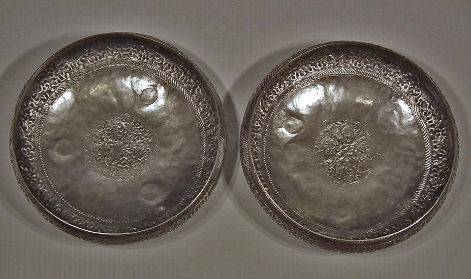 A Pair of Antique Islamic Malaysian Silver Bowls with sword Kris Keris