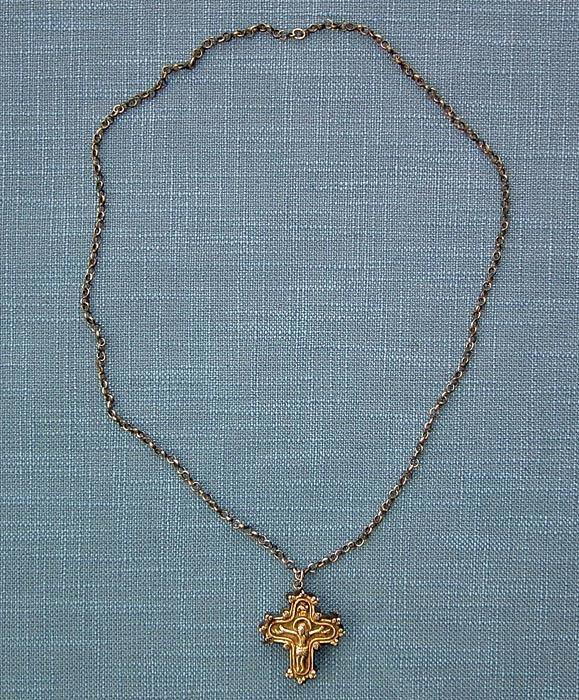 Antique Gold Gilded Silver Post - Byzantine Orthodox Reliquary Cross Encolpion