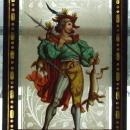 ANTIQUE PAINTING ON GLASS HUNTER with SWORD
