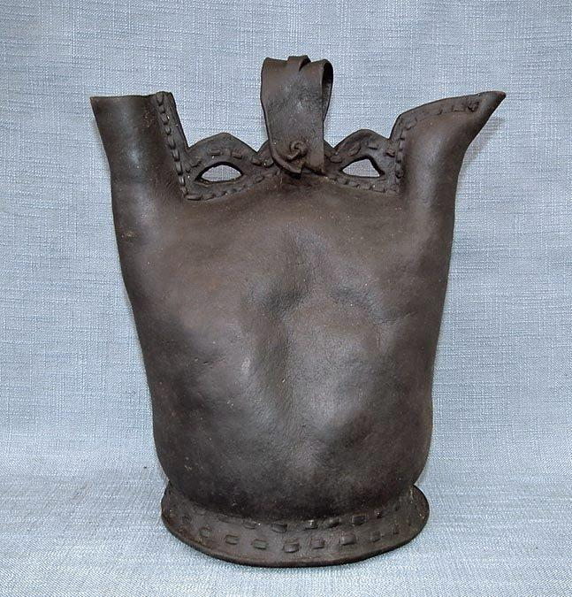 Antique 16th Century Turkish Ottoman Islamic Leather Water Flask Matara to sword