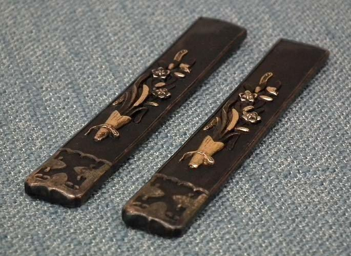 Pair Antique Japanese Kozuka To Samurai Sword Katana Wakizashi Tanto
