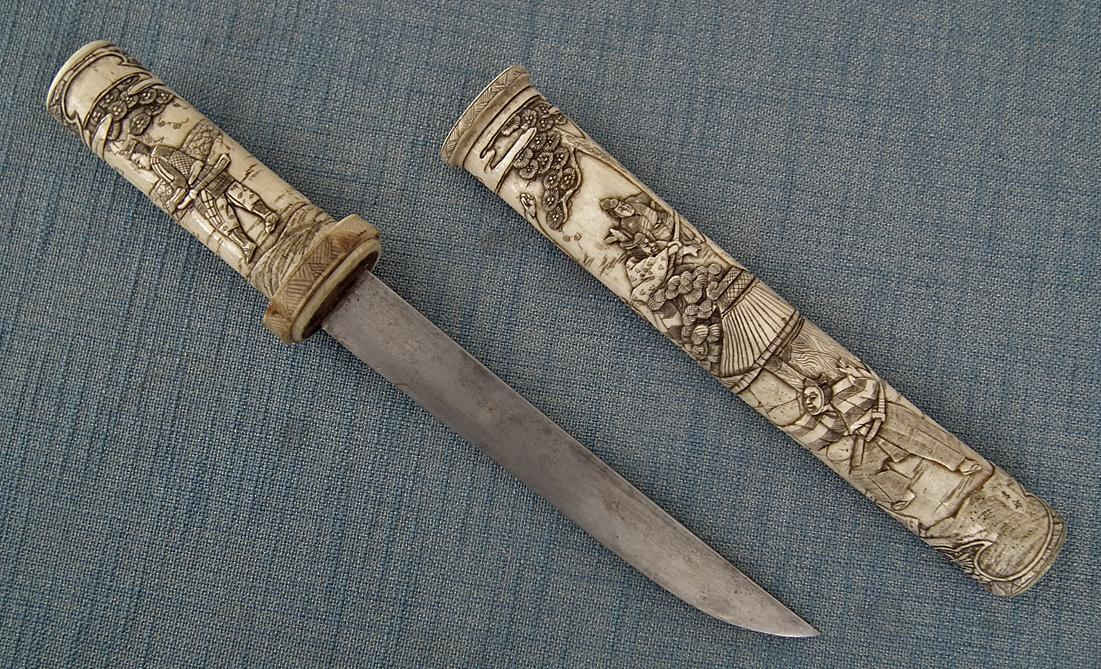 Antique Japanese Dagger Superb Tanto In Signed By Artist Bone Mounts 19th Century Meiji