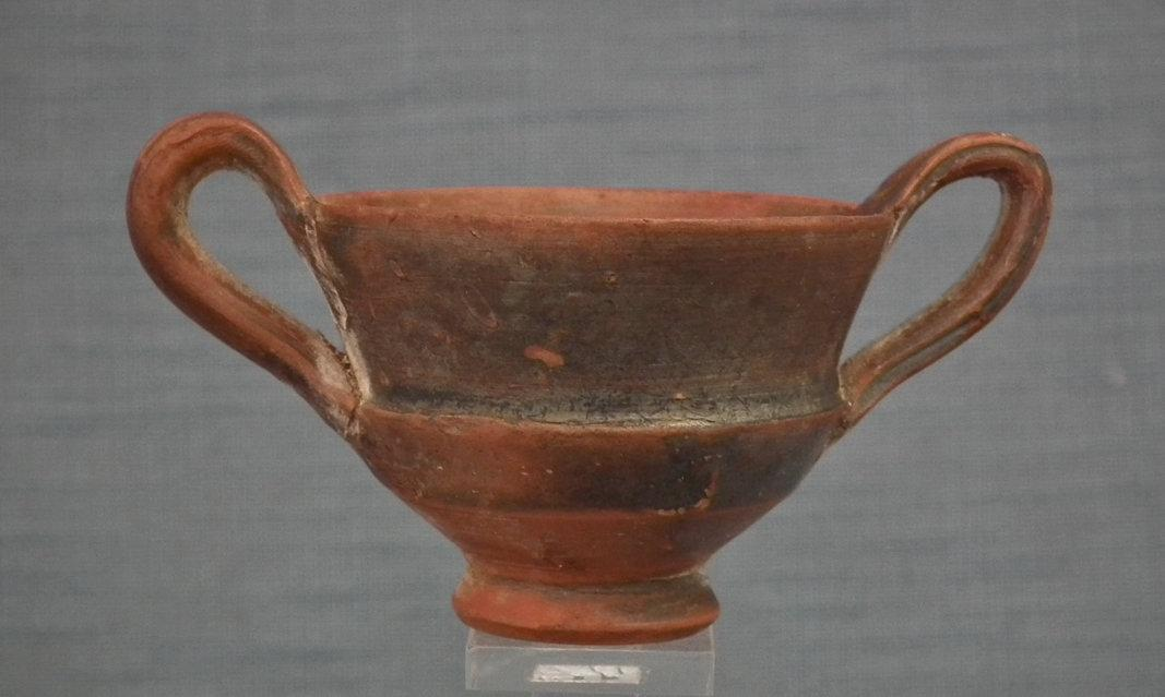 Ancient Greek 4th-3th Century B.C. Terracotta Wine Cup Kantharos