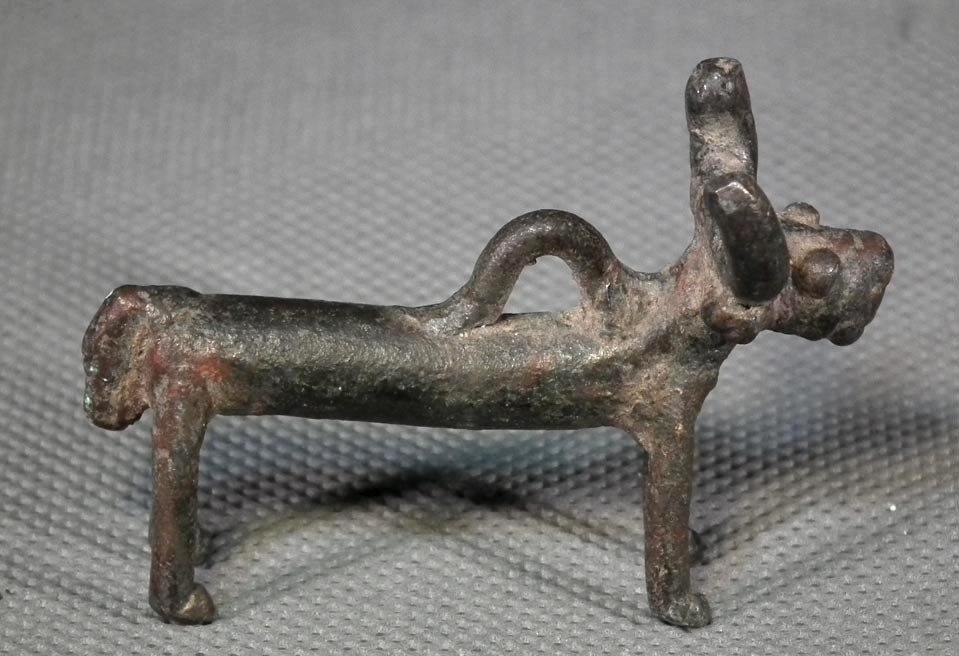Ancient 1000 B.C. Western Asiatic Bronze Bull Pendant