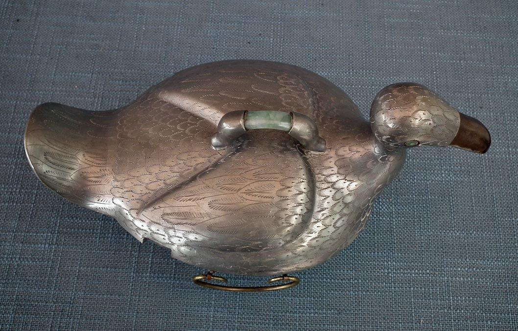 Antique Chinese Qing Dynasty Pewter Duck Shape Turin With Jade 19th c