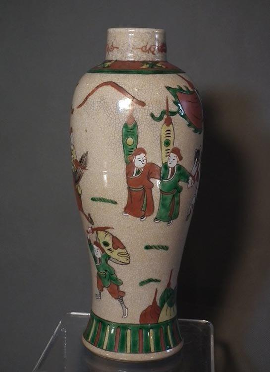 Antique Chinese Qing Dynasty Famille Rose Crackle Glazed Large Porcelain Vase