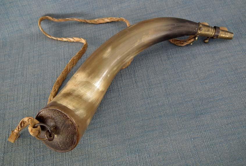 Antique 19th Century 1812 War American Rifleman's Gun Powder Horn