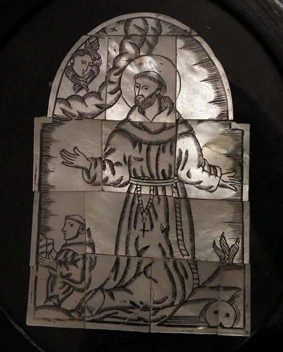 Antique 17t -18th Century Bethlehem Mother Of Pearl Baroque Panel Saint Francis of Assisi