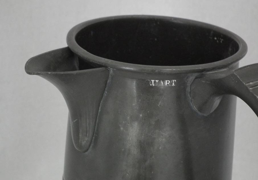 Antique 19th Century Victorian British Bristol Spouted Pewter Quart Tankard
