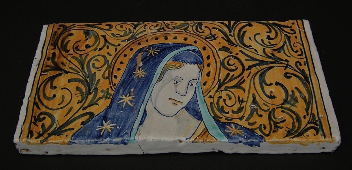 Antique 17th-18th century Italian Majolica Pottery Tiles Virgin Mary with Baby Jesus