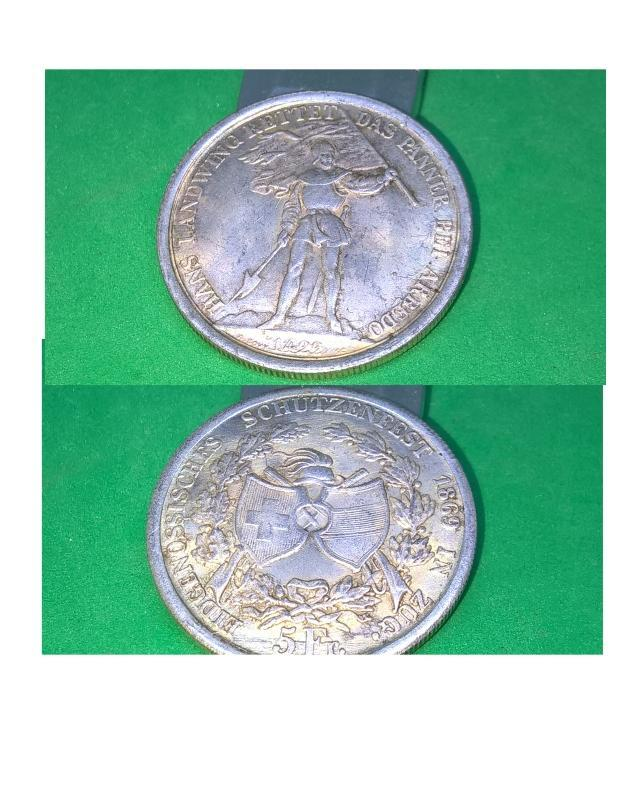 Rare Silver 1869 Suisse 5 Franc Zug Shooting Thaler