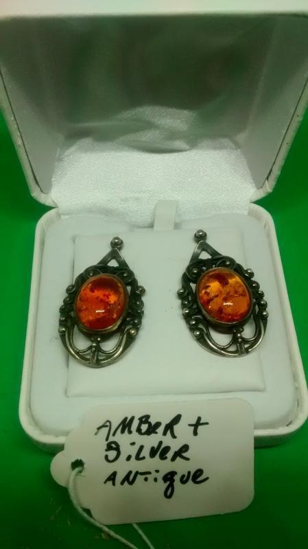 Antique Silver & Amber Earrings, Art Deco Circa 1920's