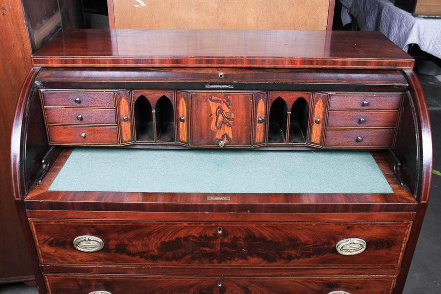 Circa 1820 Baltimore Mahogany and Marquetry Cylinder Bureau