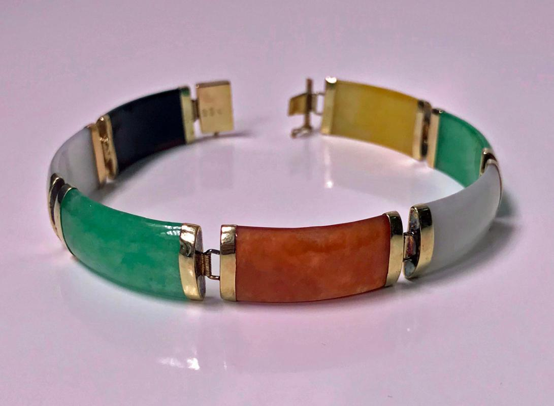 Jade and Gold panel Bracelet, 20th century