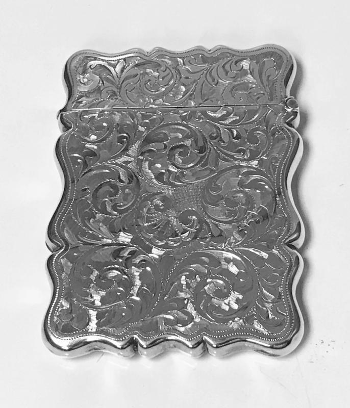 Antique Silver Card Case Birmingham 1906, Joseph Gloster