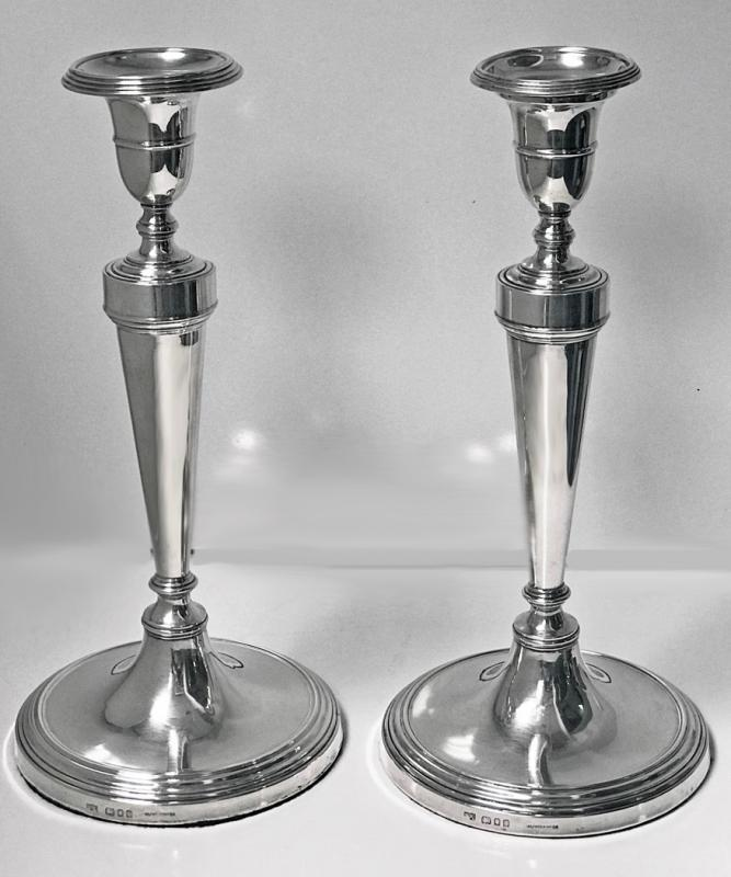 Georgian style Sterling Silver Candlesticks, Mappin and Webb, London 1930