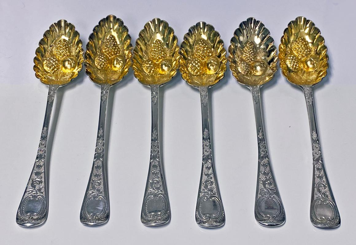 Set of 6 Georgian Silver Berry Serving Spoons, London 1823-9