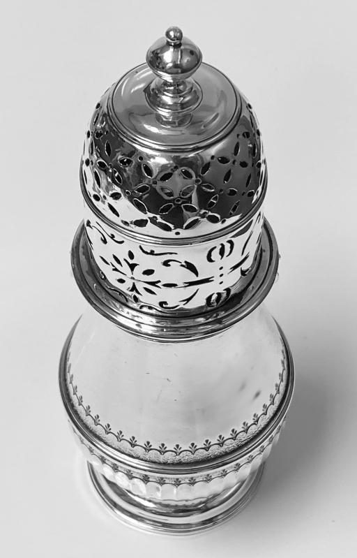 Georgian style Britannia Standard Silver Caster Muffineer London 1909 C.S.Harris