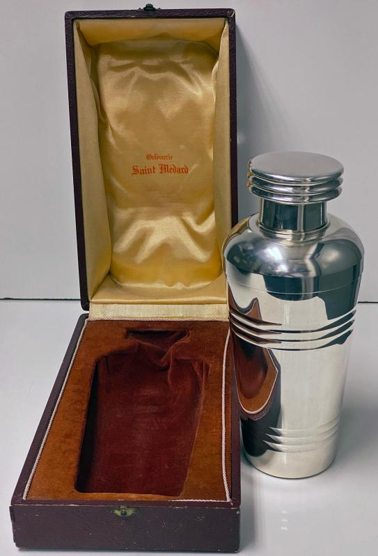 Art Deco Large French Silver Plate Cocktail Shaker, Saint Medard C.1930, Original Box