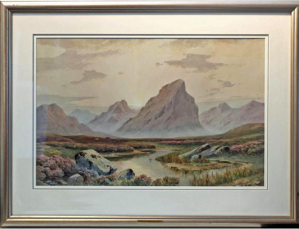 Charles E. Hannaford RBA. Watercolour Sundown Glen Coe Argyllshire 1944.