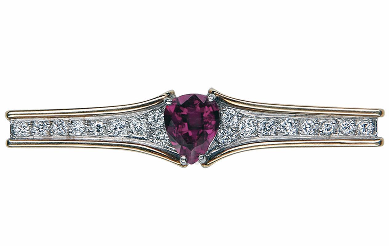 Ruby Diamond Bar Pin Signed Secrett