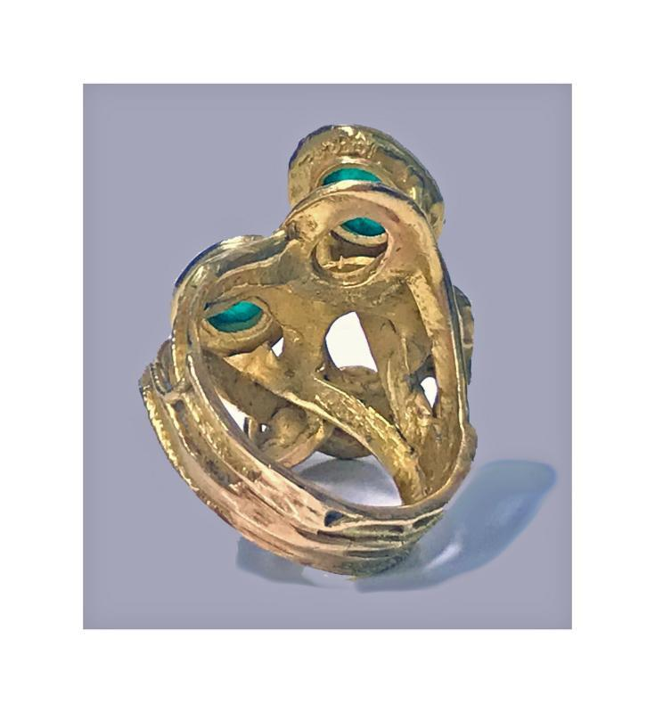Emerald Diamond Gold Abstract Ring