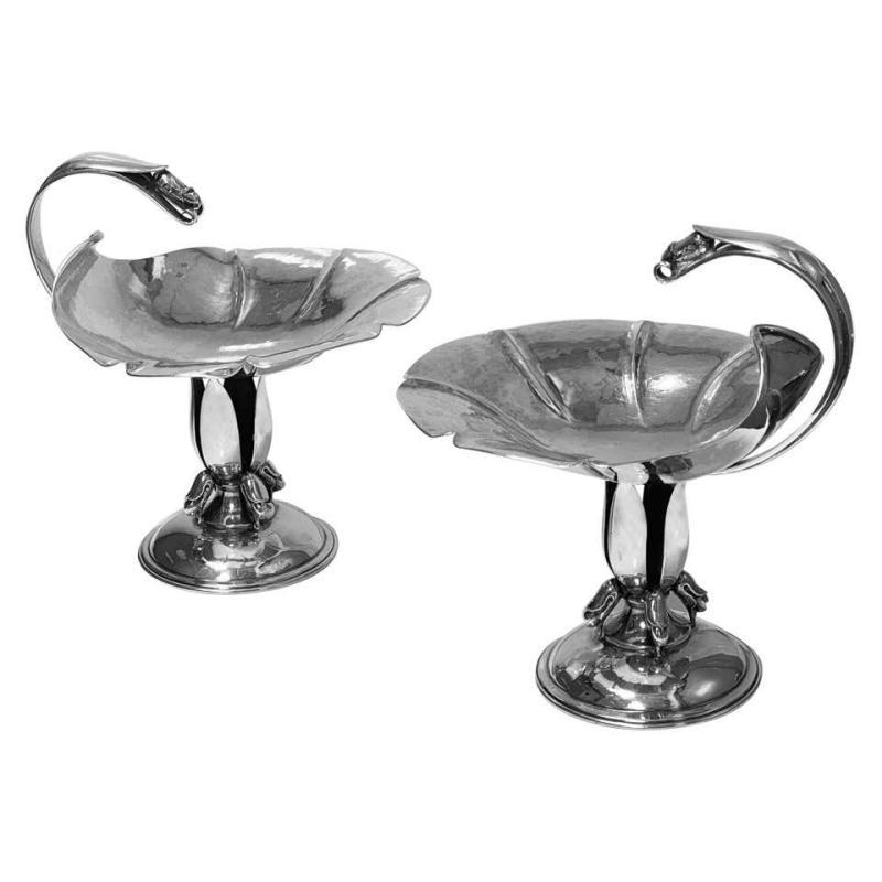 Pair of Carl Poul Petersen Sterling Silver Compotes Montreal C.1940