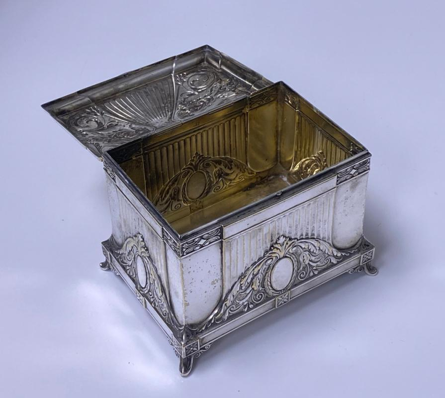 WMF Jewellery Box Jugendstil Secessionist Silver Plate, Germany, C. 1900
