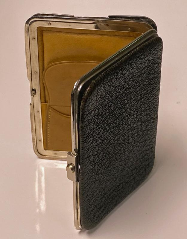 Antique Silver and leather wallet purse holder Birmingham 1895 W. Ellwick