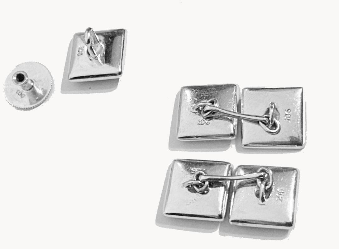 Art Deco Onyx and 9ct white gold Cufflinks Studs Tuxedo Set in fitted box, English C.1920